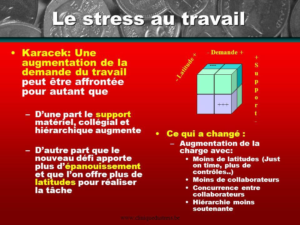 www.cliniquedustress.be Le stress au travail Karacek: Une augmentation de la demande du travail peut être affrontée pour autant que –Dune part le supp