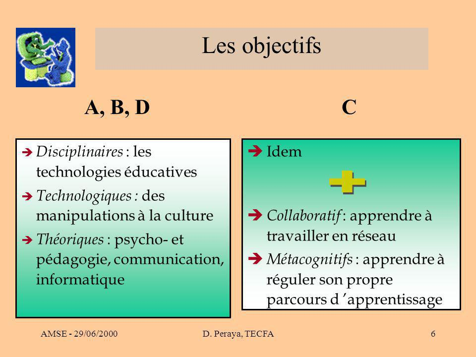 AMSE - 29/06/2000D. Peraya, TECFA6 Les objectifs èIdem è Collaboratif : apprendre à travailler en réseau è Métacognitifs : apprendre à réguler son pro