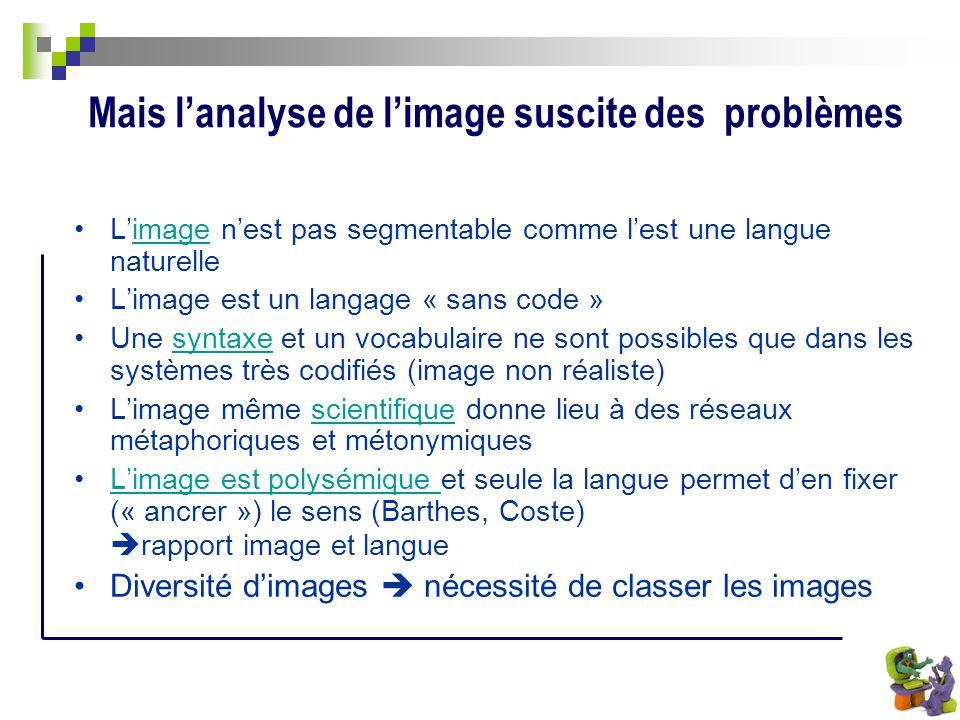 Mais lanalyse de limage suscite des problèmes Limage nest pas segmentable comme lest une langue naturelleimage Limage est un langage « sans code » Une
