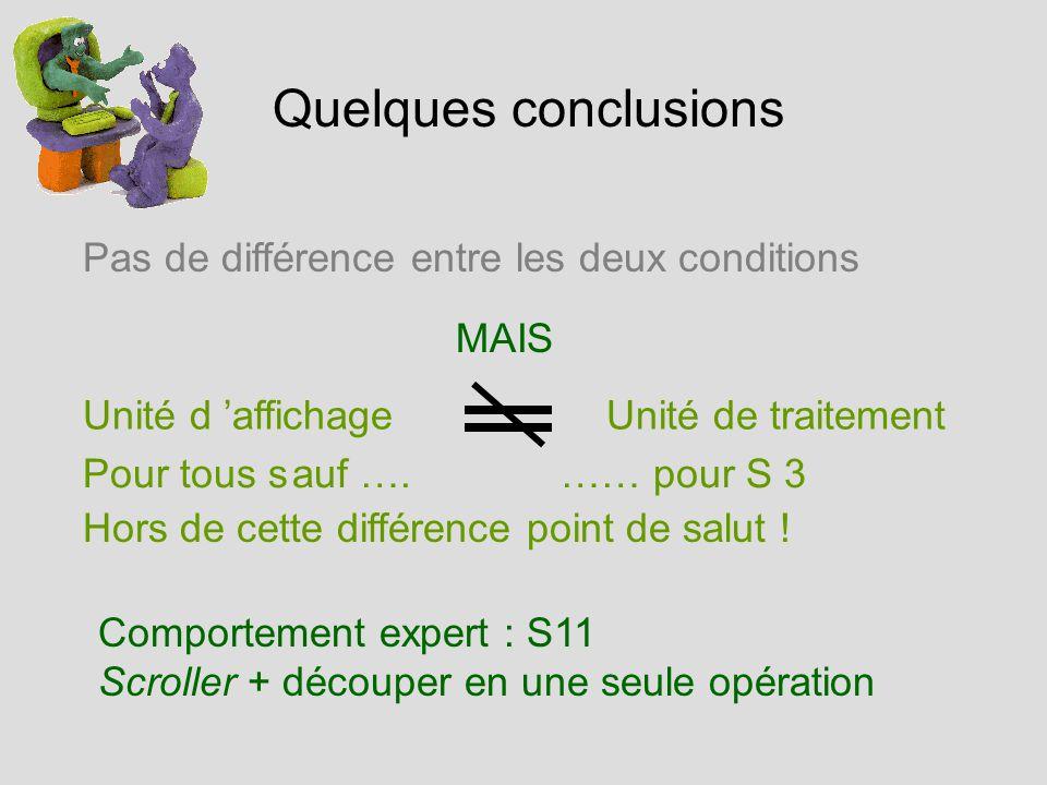 Quelques conclusions Pas de différence entre les deux conditions Unité d affichageUnité de traitement Pour tous sauf ….