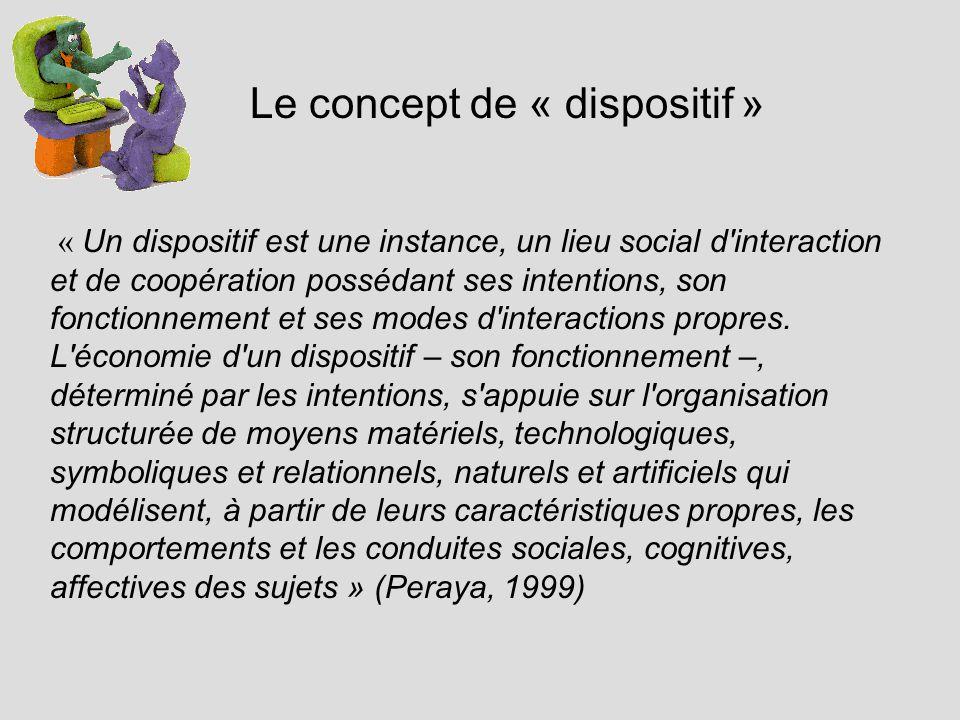 Le concept de « dispositif » « Un dispositif est une instance, un lieu social d interaction et de coopération possédant ses intentions, son fonctionnement et ses modes d interactions propres.
