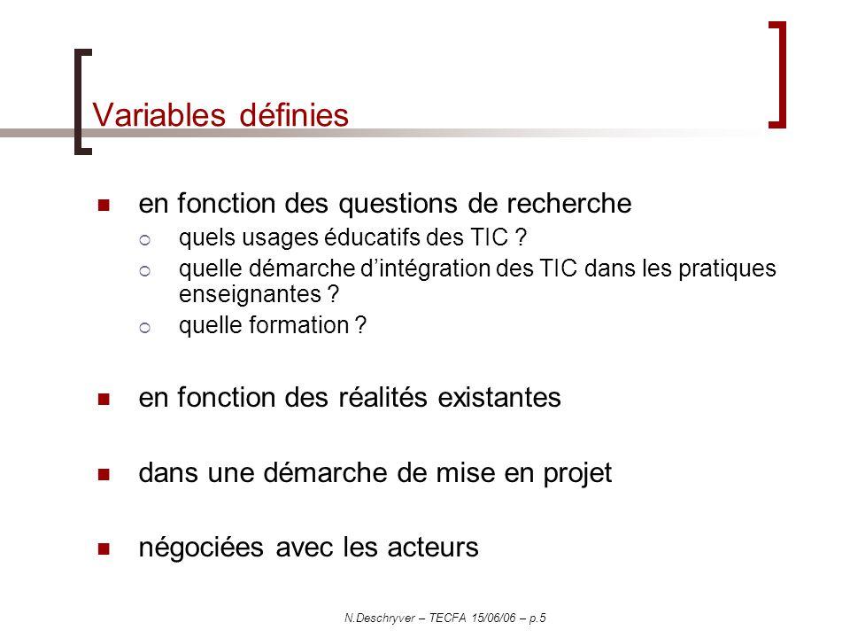 N.Deschryver – TECFA 15/06/06 – p.5 Variables définies en fonction des questions de recherche quels usages éducatifs des TIC .