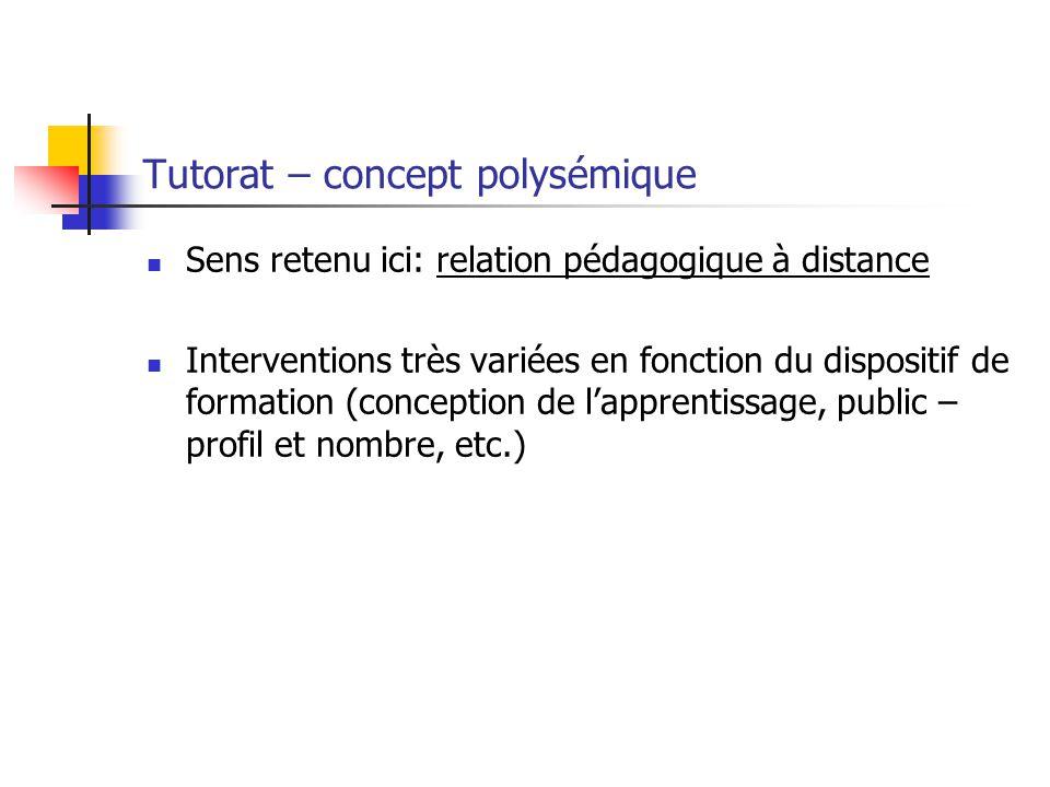 Tutorat – concept polysémique Sens retenu ici: relation pédagogique à distance Interventions très variées en fonction du dispositif de formation (conception de lapprentissage, public – profil et nombre, etc.)