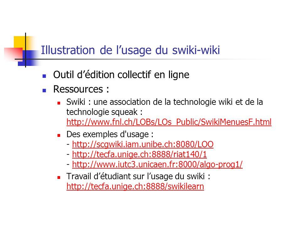Illustration de lusage du swiki-wiki Outil dédition collectif en ligne Ressources : Swiki : une association de la technologie wiki et de la technologie squeak : http://www.fnl.ch/LOBs/LOs_Public/SwikiMenuesF.html http://www.fnl.ch/LOBs/LOs_Public/SwikiMenuesF.html Des exemples d usage : - http://scgwiki.iam.unibe.ch:8080/LOO - http://tecfa.unige.ch:8888/riat140/1 - http://www.iutc3.unicaen.fr:8000/algo-prog1/http://scgwiki.iam.unibe.ch:8080/LOOhttp://tecfa.unige.ch:8888/riat140/1http://www.iutc3.unicaen.fr:8000/algo-prog1/ Travail détudiant sur lusage du swiki : http://tecfa.unige.ch:8888/swikilearn http://tecfa.unige.ch:8888/swikilearn