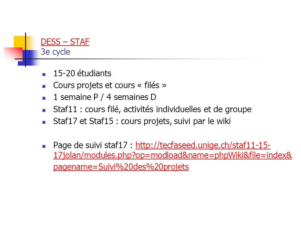 DESS – STAF DESS – STAF 3e cycle 15-20 étudiants Cours projets et cours « filés » 1 semaine P / 4 semaines D Staf11 : cours filé, activités individuelles et de groupe Staf17 et Staf15 : cours projets, suivi par le wiki Page de suivi staf17 : http://tecfaseed.unige.ch/staf11-15- 17jolan/modules.php?op=modload&name=phpWiki&file=index& pagename=Suivi%20des%20projetshttp://tecfaseed.unige.ch/staf11-15- 17jolan/modules.php?op=modload&name=phpWiki&file=index& pagename=Suivi%20des%20projets