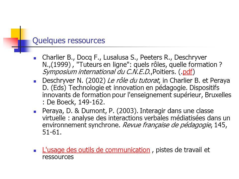 Quelques ressources Charlier B., Docq F., Lusalusa S., Peeters R., Deschryver N.,(1999), Tuteurs en ligne : quels rôles, quelle formation .