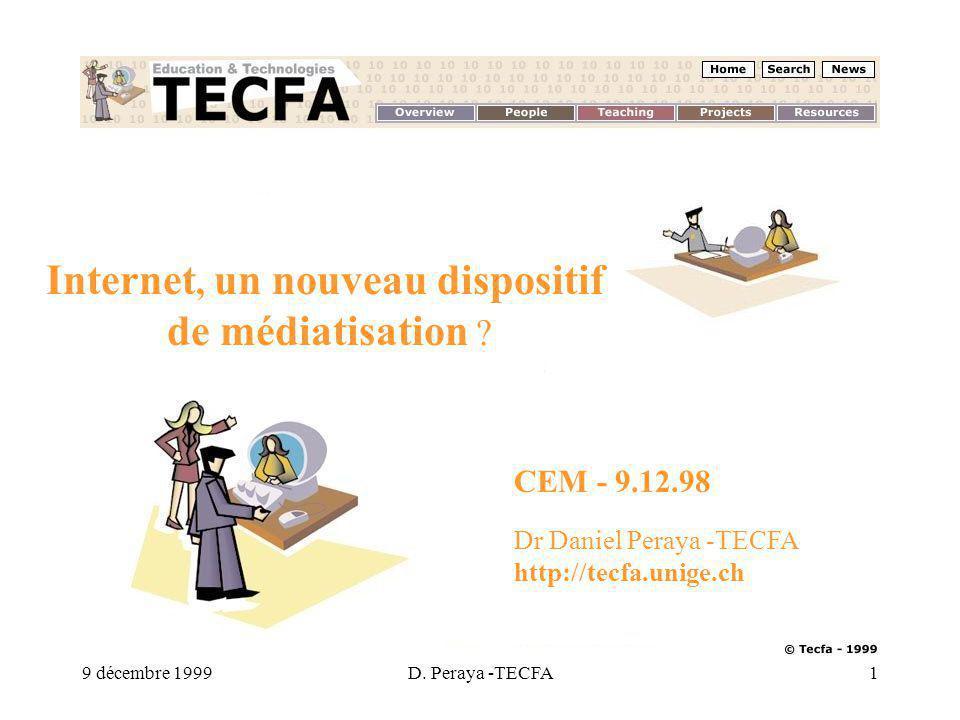 9 décembre 1999D. Peraya -TECFA1 Internet, un nouveau dispositif de médiatisation .