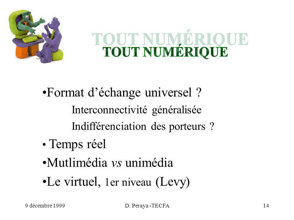 9 décembre 1999D. Peraya -TECFA14 Format déchange universel .