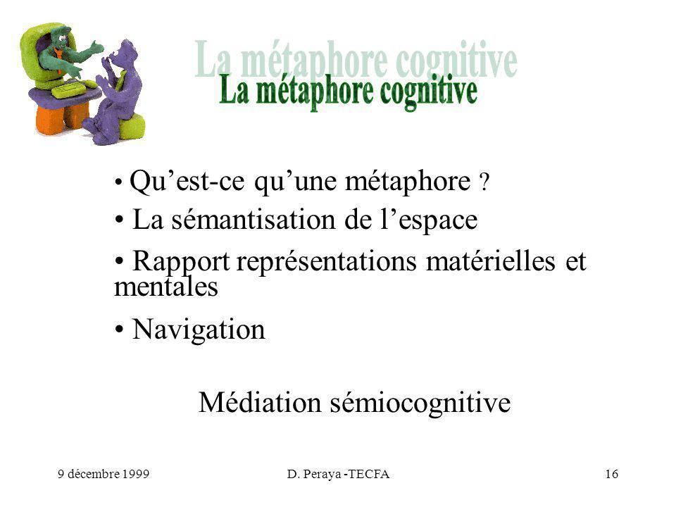 9 décembre 1999D. Peraya -TECFA16 Quest-ce quune métaphore .