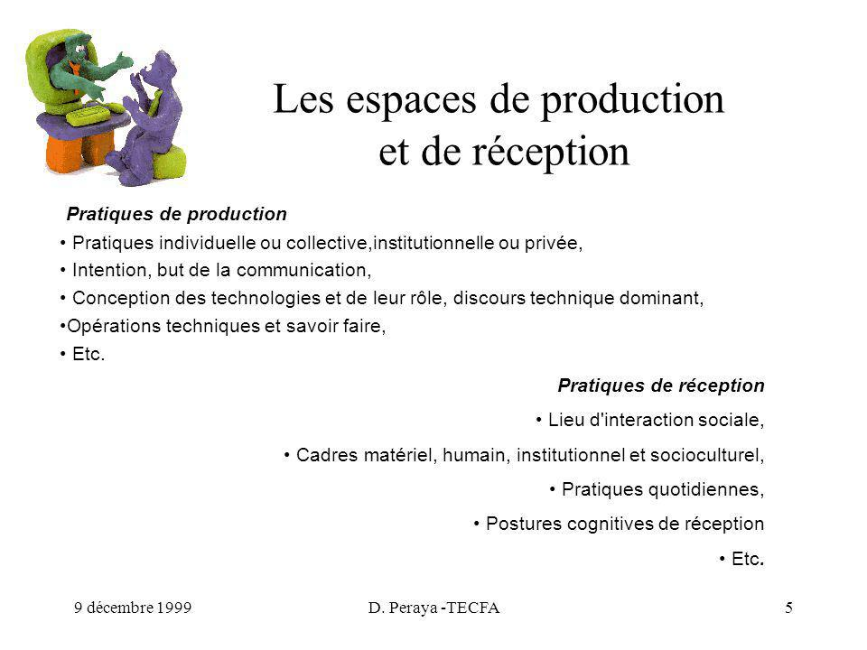 9 décembre 1999D. Peraya -TECFA5 Les espaces de production et de réception Pratiques de production Pratiques individuelle ou collective,institutionnel