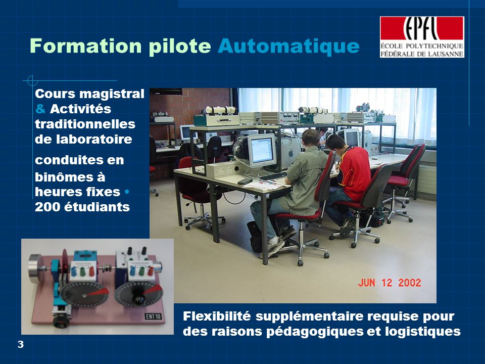 3 Formation pilote Automatique Cours magistral & Activités traditionnelles de laboratoire conduites en binômes à heures fixes 200 étudiants Flexibilité supplémentaire requise pour des raisons pédagogiques et logistiques