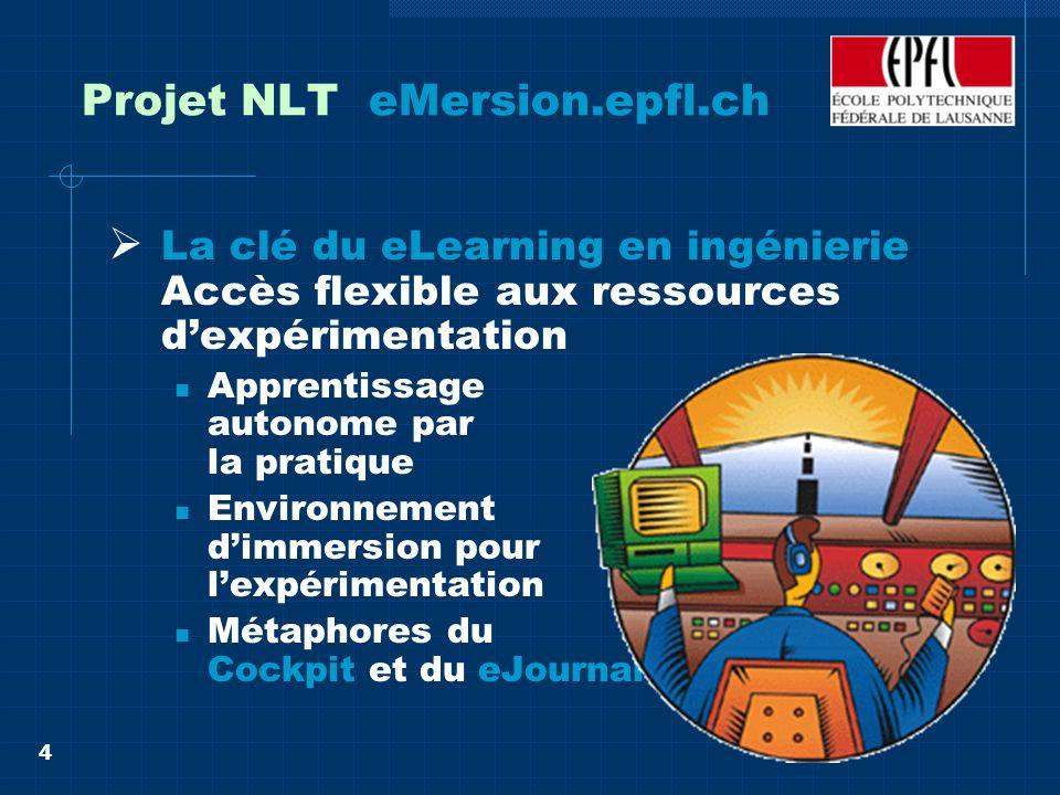 4 Projet NLT eMersion.epfl.ch La clé du eLearning en ingénierie Accès flexible aux ressources dexpérimentation Apprentissage autonome par la pratique