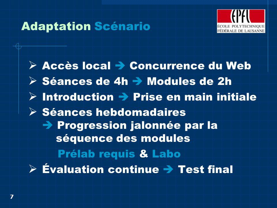 7 Adaptation Scénario Accès local Concurrence du Web Séances de 4h Modules de 2h Introduction Prise en main initiale Séances hebdomadaires Progression