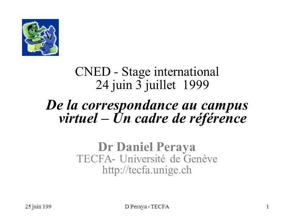 25 juin 199D Peraya - TECFA1 CNED - Stage international 24 juin 3 juillet 1999 De la correspondance au campus virtuel – Un cadre de référence Dr Daniel Peraya TECFA- Université de Genève http://tecfa.unige.ch