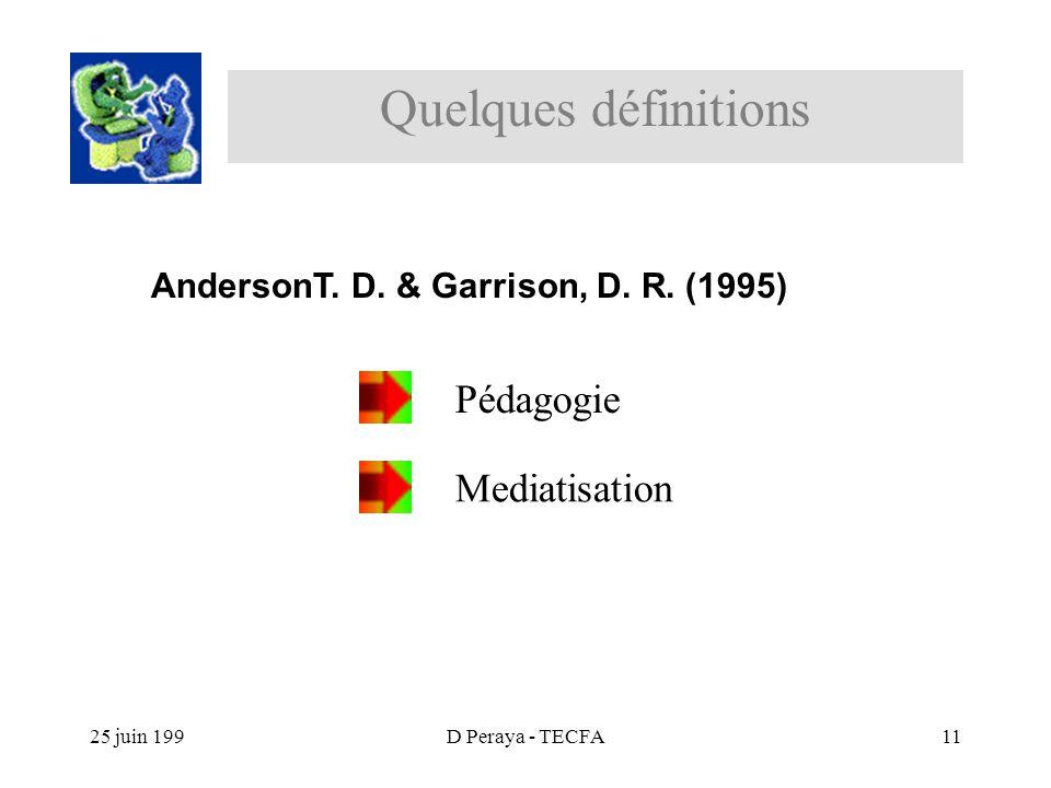 25 juin 199D Peraya - TECFA11 Pédagogie Mediatisation Quelques définitions AndersonT.