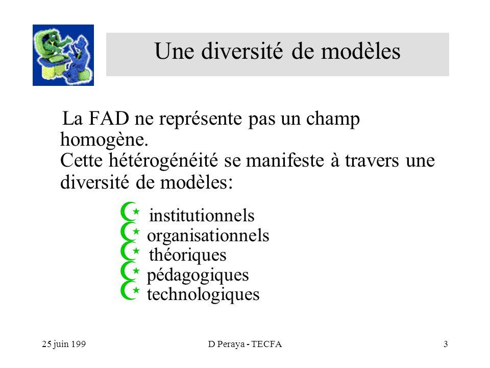 25 juin 199D Peraya - TECFA3 La FAD ne représente pas un champ homogène.