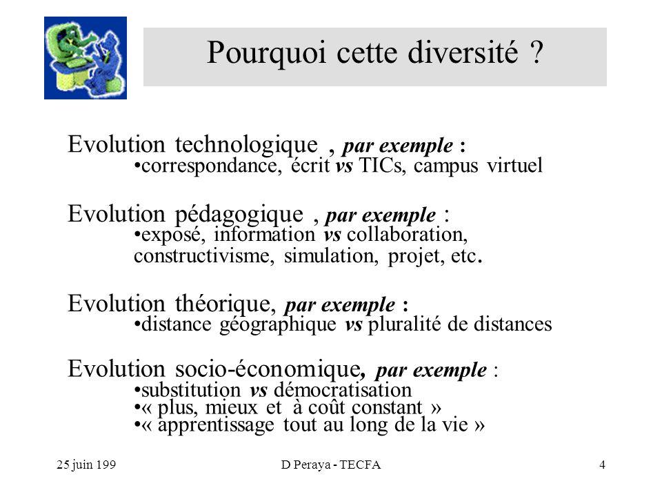25 juin 199D Peraya - TECFA4 Pourquoi cette diversité .