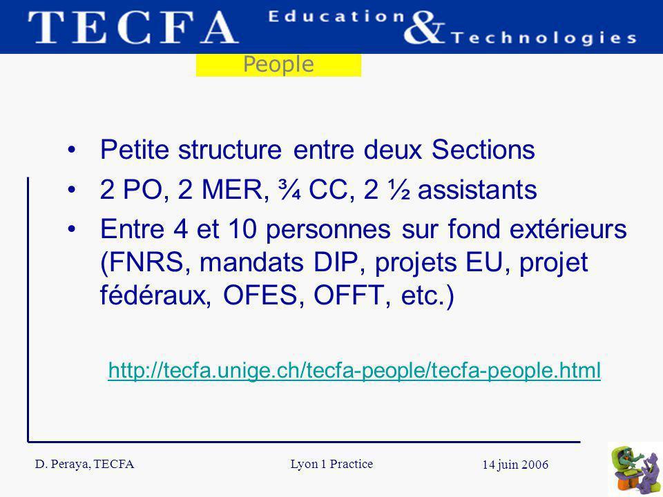 D. Peraya, TECFA 5 14 juin 2006 Lyon 1 Practice Petite structure entre deux Sections 2 PO, 2 MER, ¾ CC, 2 ½ assistants Entre 4 et 10 personnes sur fon