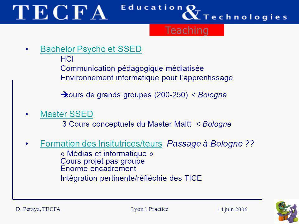 D. Peraya, TECFA 7 14 juin 2006 Lyon 1 Practice Bachelor Psycho et SSED HCI Communication pédagogique médiatisée Environnement informatique pour lappr