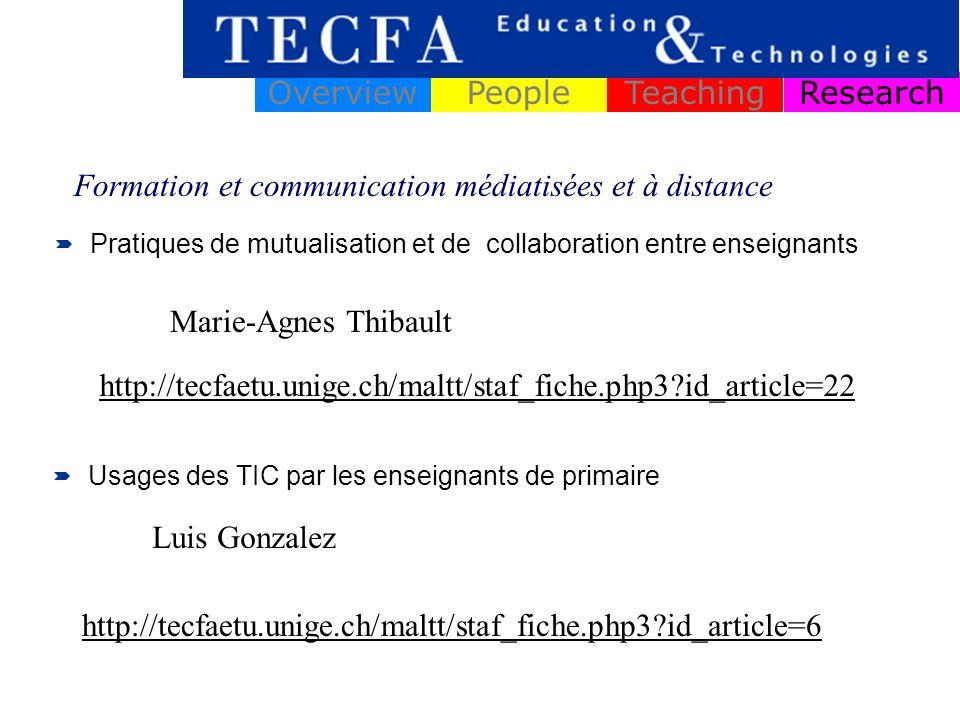 ResearchOverviewPeopleTeaching Pratiques de mutualisation et de collaboration entre enseignants Formation et communication médiatisées et à distance Marie-Agnes Thibault http://tecfaetu.unige.ch/maltt/staf_fiche.php3?id_article=22 Usages des TIC par les enseignants de primaire Luis Gonzalez http://tecfaetu.unige.ch/maltt/staf_fiche.php3?id_article=6