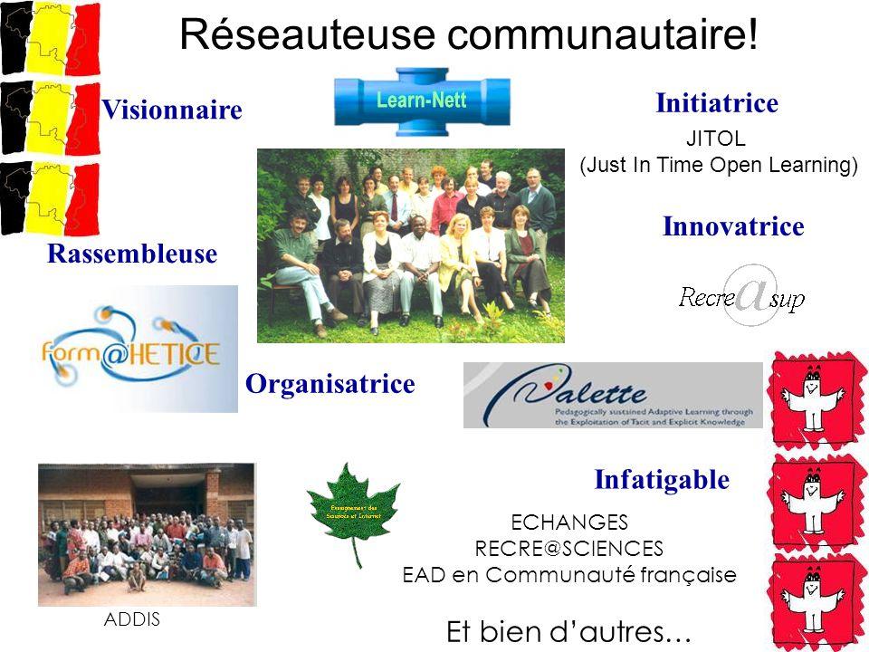 Réseauteuse communautaire! ECHANGES RECRE@SCIENCES EAD en Communauté française Et bien dautres… Visionnaire Initiatrice Organisatrice Infatigable Rass
