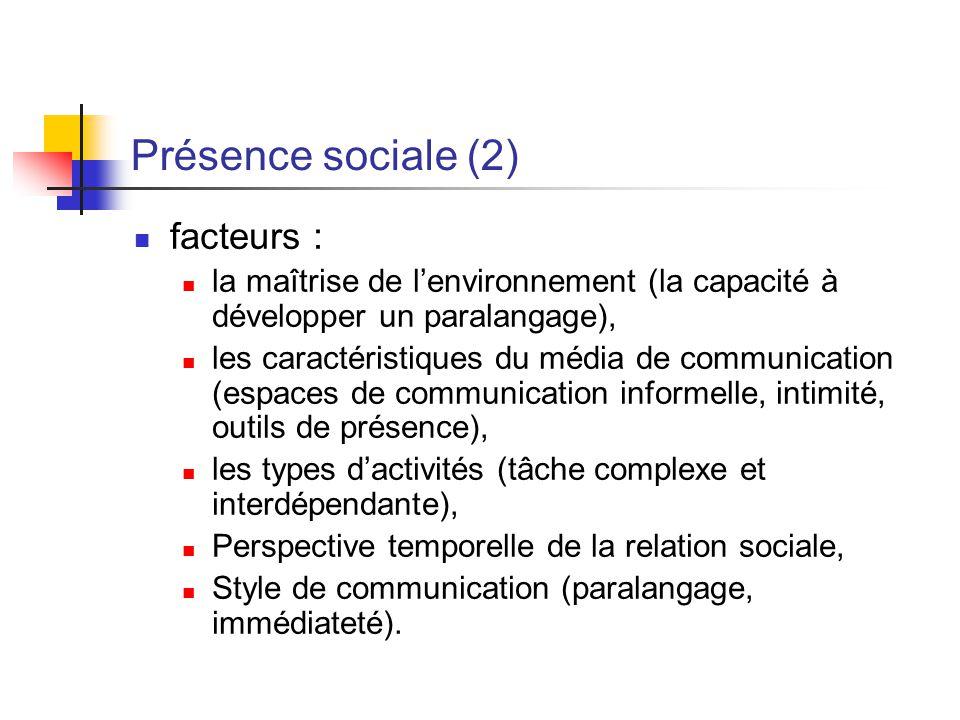 Présence sociale (2) facteurs : la maîtrise de lenvironnement (la capacité à développer un paralangage), les caractéristiques du média de communicatio