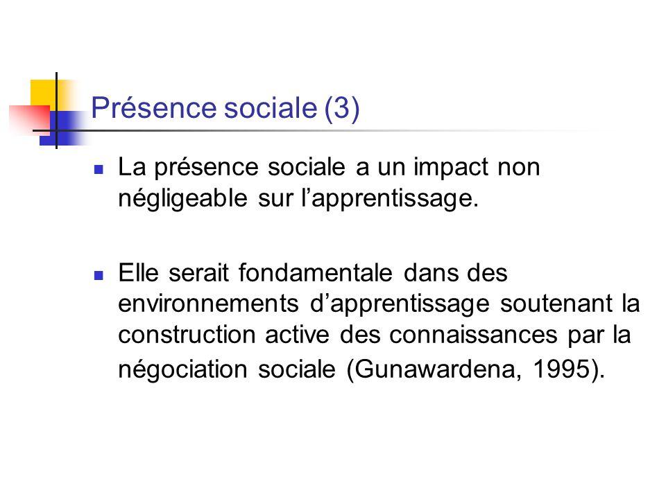Présence sociale (3) La présence sociale a un impact non négligeable sur lapprentissage. Elle serait fondamentale dans des environnements dapprentissa