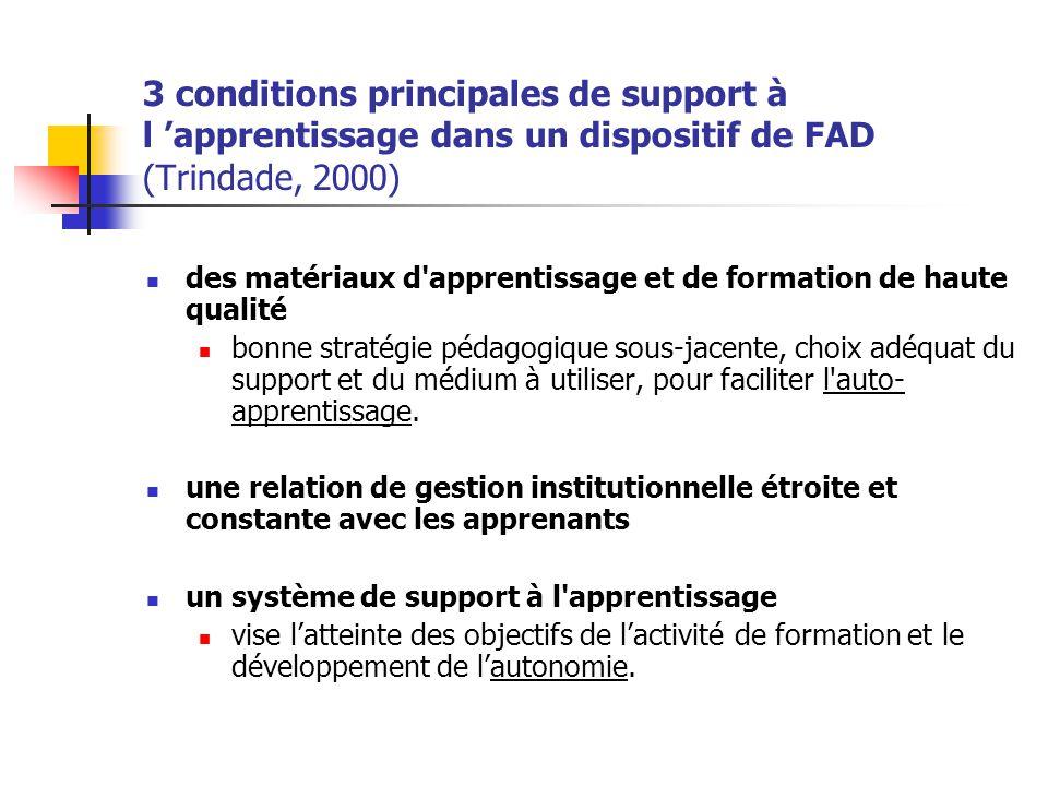 3 conditions principales de support à l apprentissage dans un dispositif de FAD (Trindade, 2000) des matériaux d'apprentissage et de formation de haut