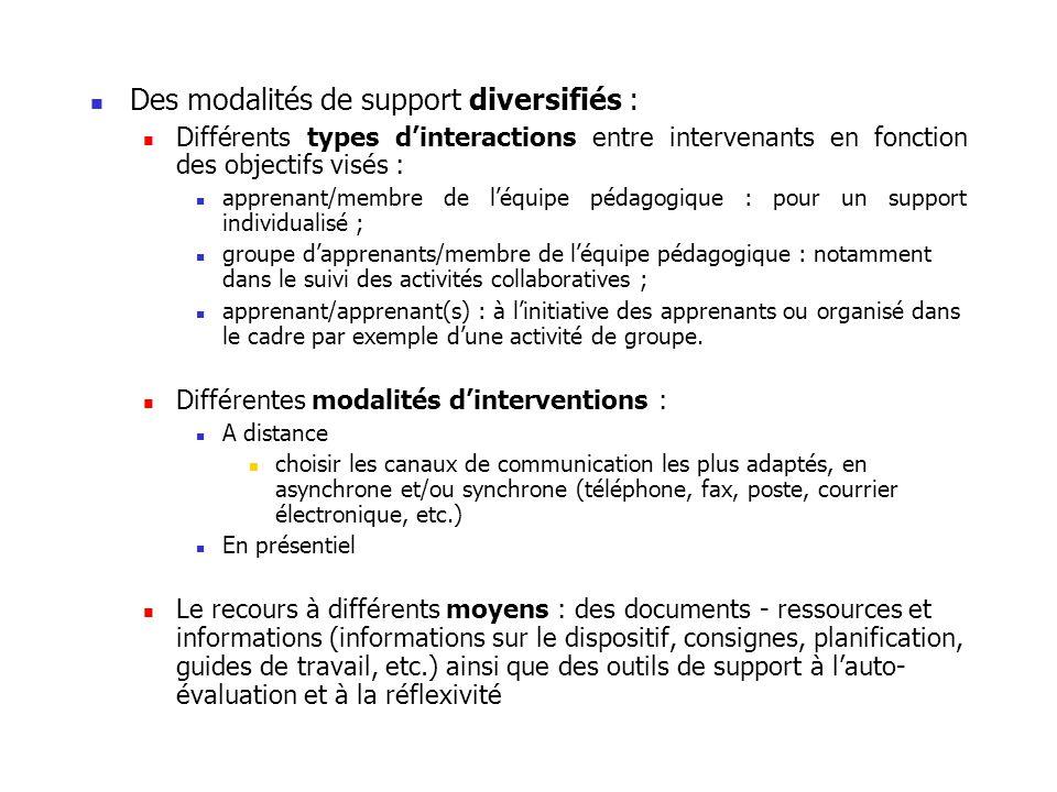 Des modalités de support diversifiés : Différents types dinteractions entre intervenants en fonction des objectifs visés : apprenant/membre de léquipe