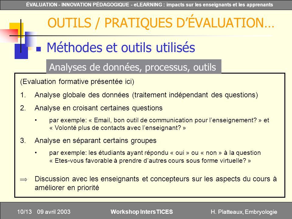H. Platteaux, Embryologie10/13 ÉVALUATION - INNOVATION PÉDAGOGIQUE - eLEARNING : impacts sur les enseignants et les apprenants Workshop IntersTICES 09