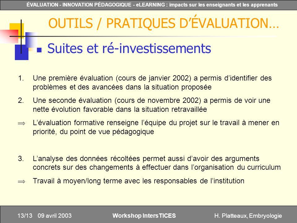 H. Platteaux, Embryologie13/13 ÉVALUATION - INNOVATION PÉDAGOGIQUE - eLEARNING : impacts sur les enseignants et les apprenants Workshop IntersTICES 09