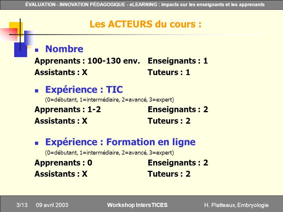 H. Platteaux, Embryologie3/13 ÉVALUATION - INNOVATION PÉDAGOGIQUE - eLEARNING : impacts sur les enseignants et les apprenants Workshop IntersTICES 09