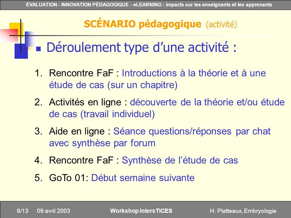 H. Platteaux, Embryologie6/13 ÉVALUATION - INNOVATION PÉDAGOGIQUE - eLEARNING : impacts sur les enseignants et les apprenants Workshop IntersTICES 09