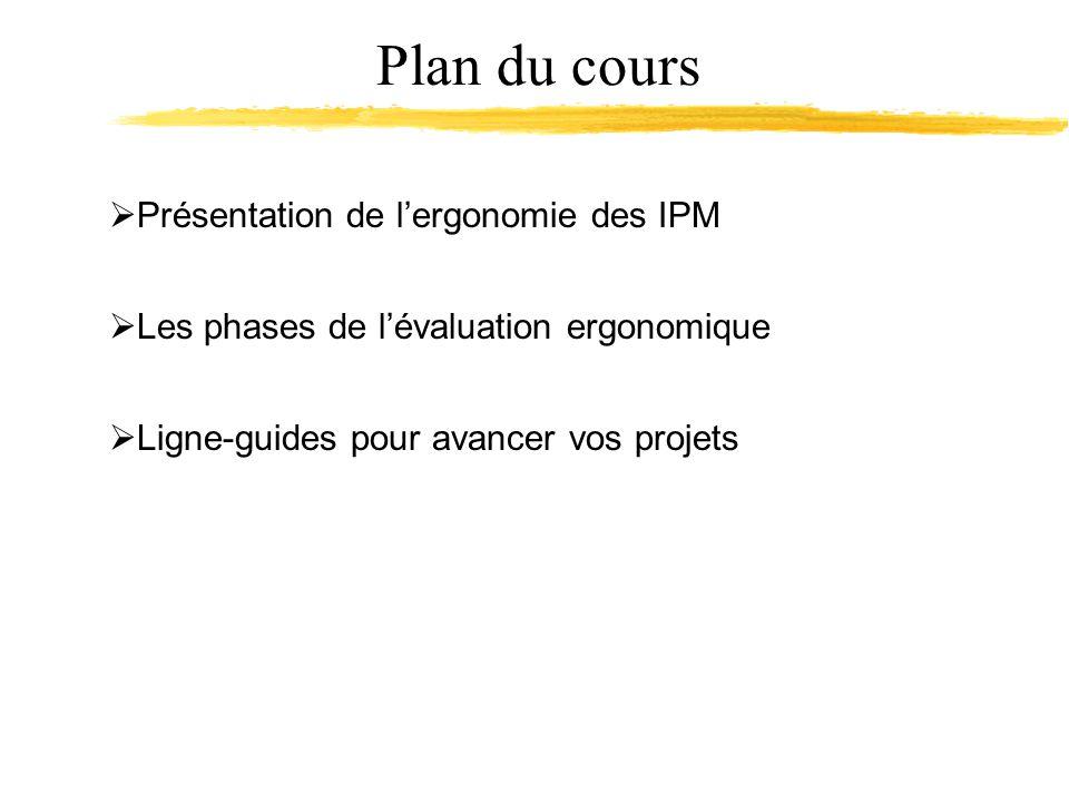 Plan du cours Présentation de lergonomie des IPM Les phases de lévaluation ergonomique Ligne-guides pour avancer vos projets