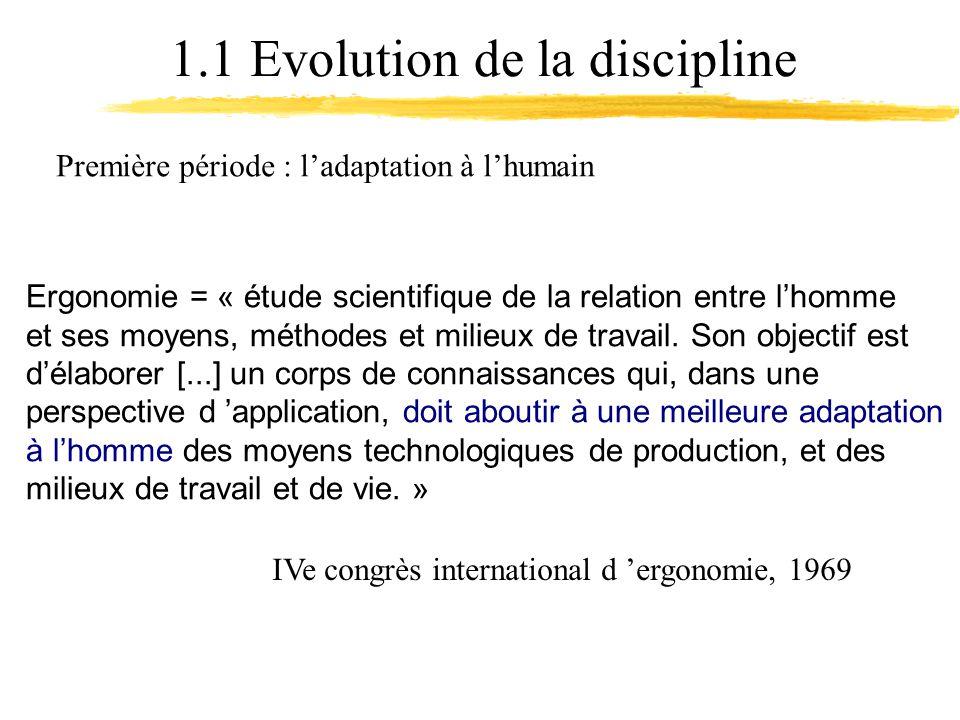 1.1 Evolution de la discipline Ergonomie = « étude scientifique de la relation entre lhomme et ses moyens, méthodes et milieux de travail.