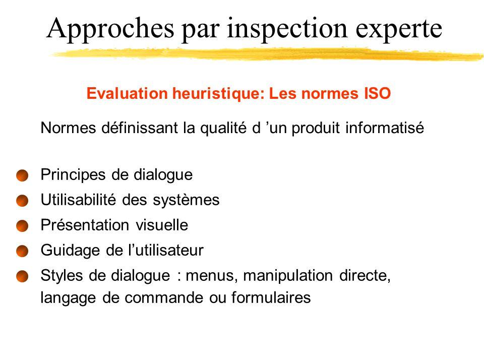 Evaluation heuristique: Les normes ISO Normes définissant la qualité d un produit informatisé Principes de dialogue Utilisabilité des systèmes Présentation visuelle Guidage de lutilisateur Styles de dialogue : menus, manipulation directe, langage de commande ou formulaires Approches par inspection experte