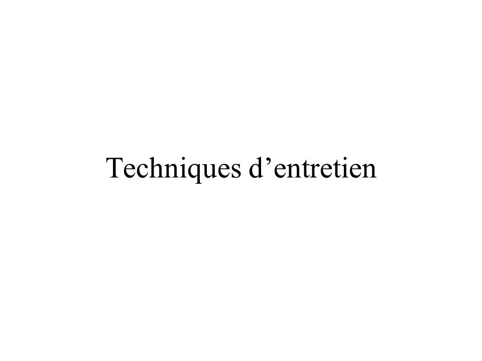 Techniques dentretien