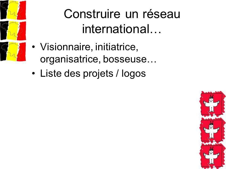 Construire un réseau international… Visionnaire, initiatrice, organisatrice, bosseuse… Liste des projets / logos