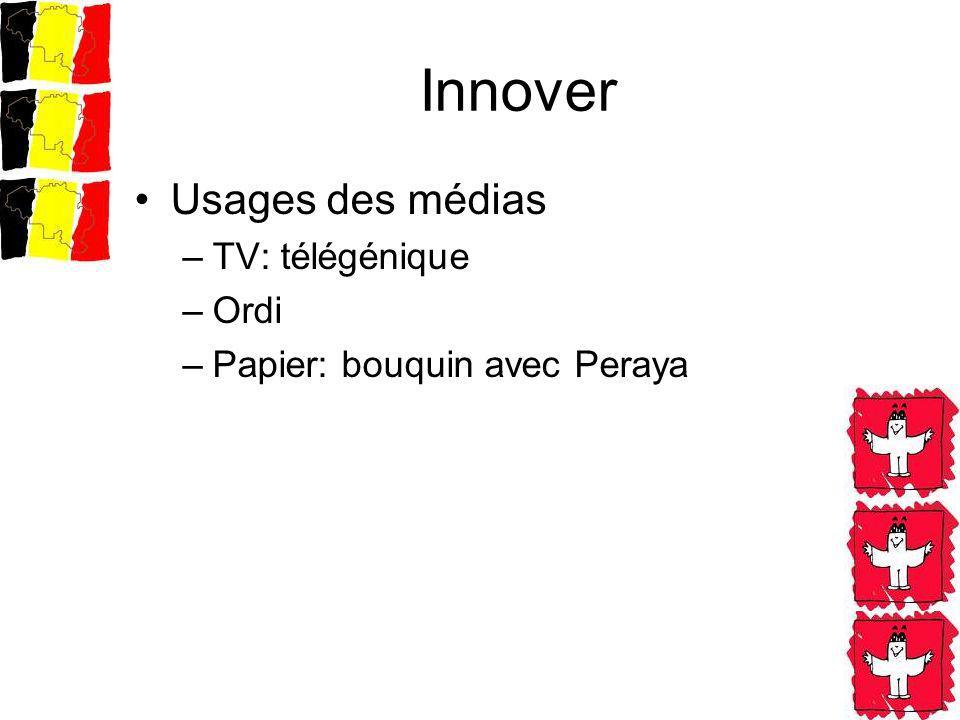 Innover Usages des médias –TV: télégénique –Ordi –Papier: bouquin avec Peraya