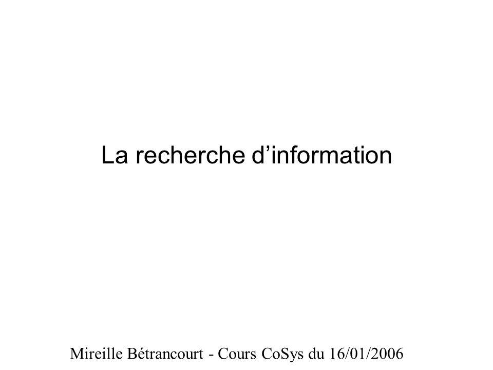La recherche dinformation Mireille Bétrancourt - Cours CoSys du 16/01/2006