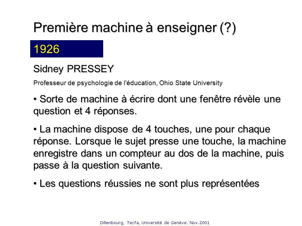 Dillenbourg, Tecfa, Université de Genève. Nov.2001 Première machine à enseigner (?) 19?.