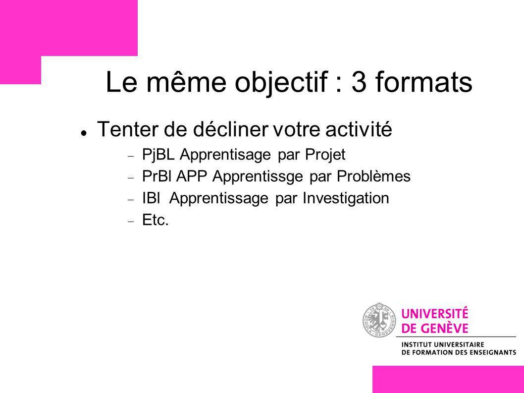 Le même objectif : 3 formats Tenter de décliner votre activité PjBL Apprentisage par Projet PrBl APP Apprentissge par Problèmes IBl Apprentissage par Investigation Etc.