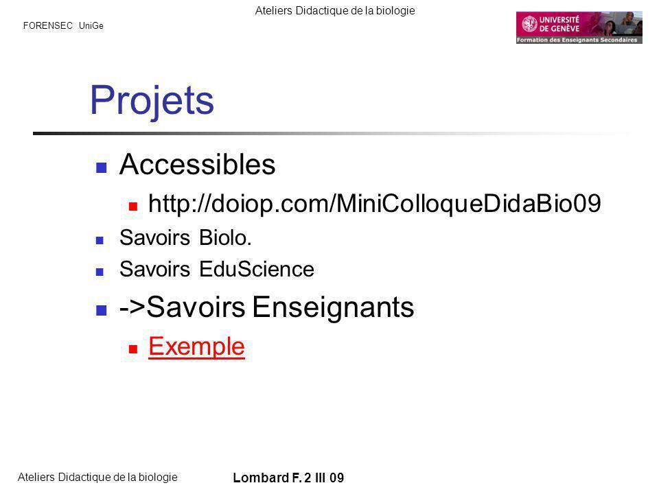 FORENSEC UniGe Ateliers Didactique de la biologie Lombard F. 2 III 09 Projets Accessibles http://doiop.com/MiniColloqueDidaBio09 Savoirs Biolo. Savoir