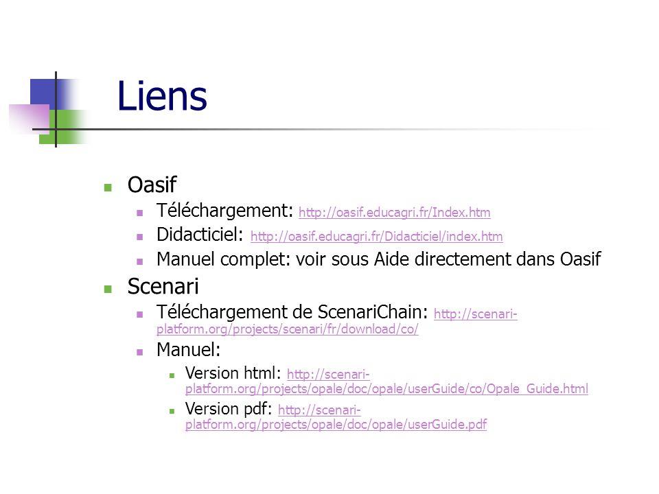 Liens Oasif Téléchargement: http://oasif.educagri.fr/Index.htm http://oasif.educagri.fr/Index.htm Didacticiel: http://oasif.educagri.fr/Didacticiel/in