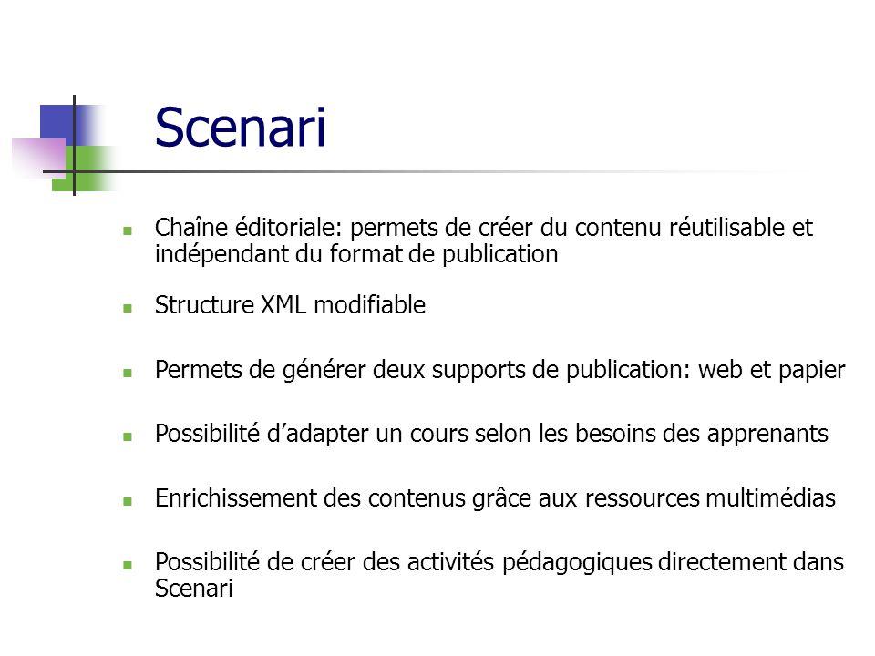 Scenari Chaîne éditoriale: permets de créer du contenu réutilisable et indépendant du format de publication Structure XML modifiable Permets de génére