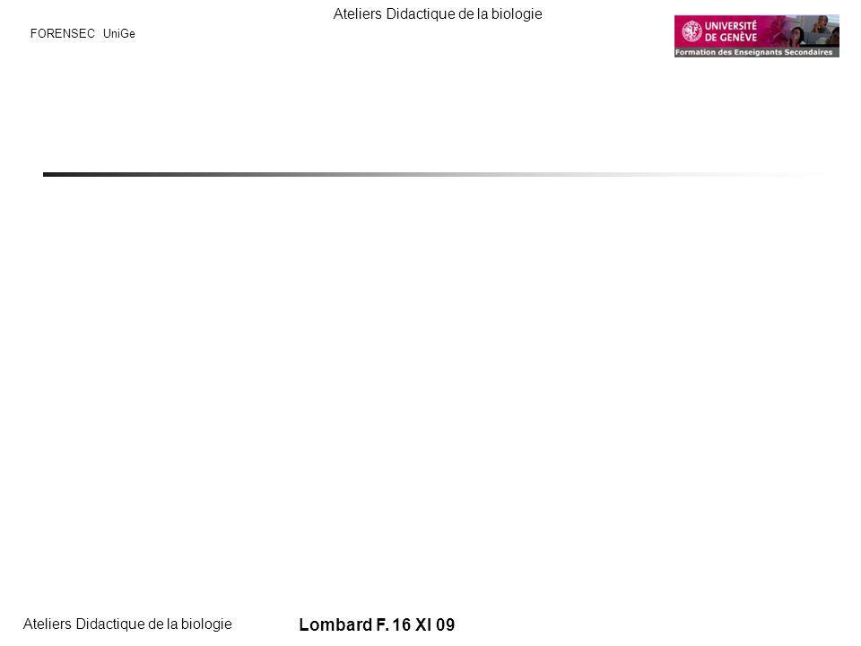 FORENSEC UniGe Ateliers Didactique de la biologie Lombard F. 16 XI 09