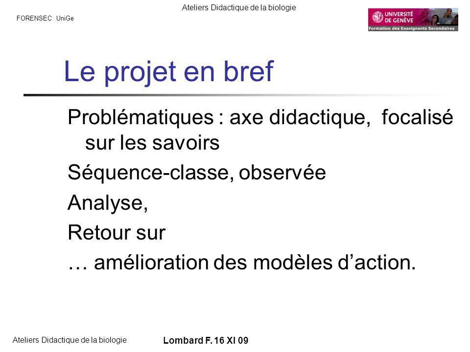 FORENSEC UniGe Ateliers Didactique de la biologie Lombard F.