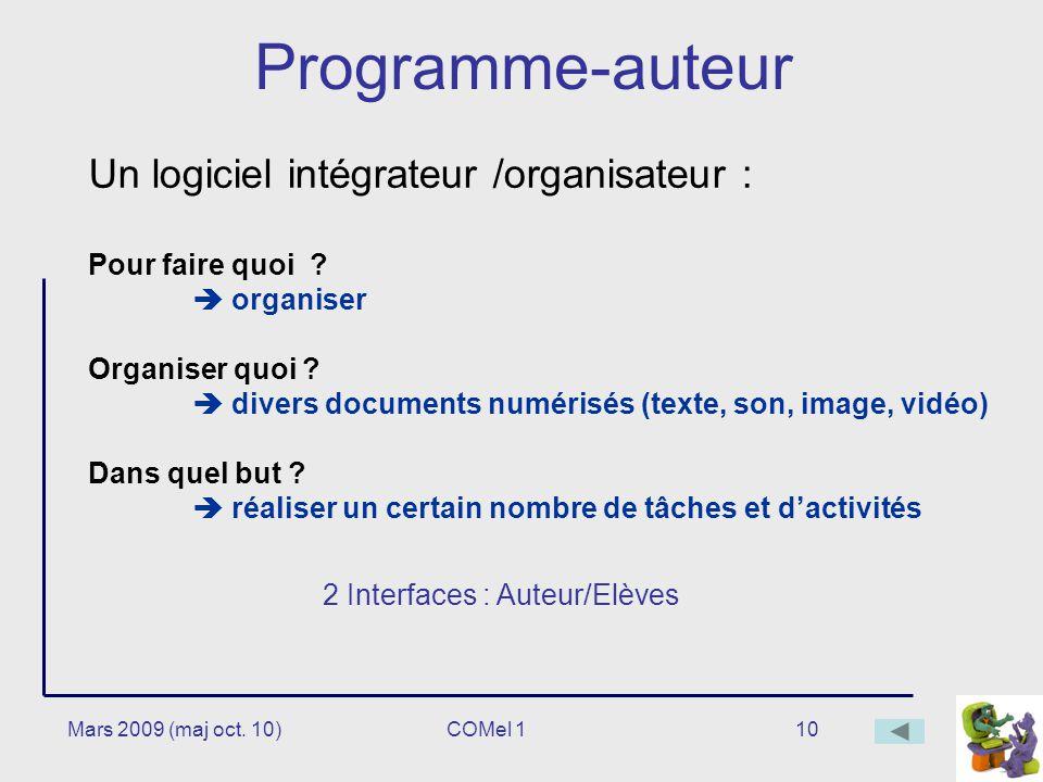 10 Programme-auteur Un logiciel intégrateur /organisateur : Pour faire quoi .