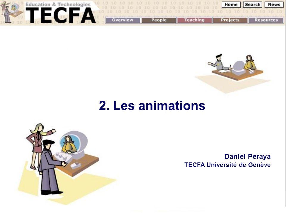 2. Les animations Daniel Peraya TECFA Université de Genève