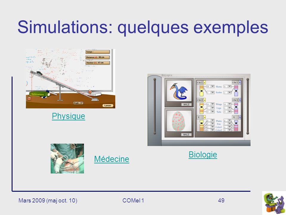 Mars 2009 (maj oct. 10)49 Simulations: quelques exemples Physique Biologie Médecine COMel 1